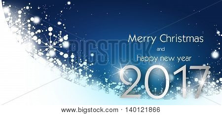 Blue white christmas greeting card with white snowflakes decoration