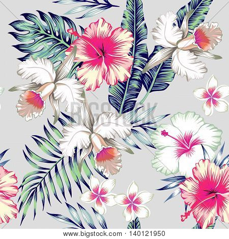 Tropic exotic hibiscus flowers orchid plumeria. In trendy blue background with green leaves of a banana palm tree. Floral seamless vector pattern. Hand drawn fashion print exclusive summer plant