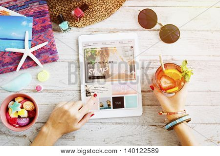 Woman Searching Internet Digital Table Concept