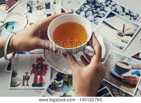 Hands Holding Teacup Photography Memories Concept