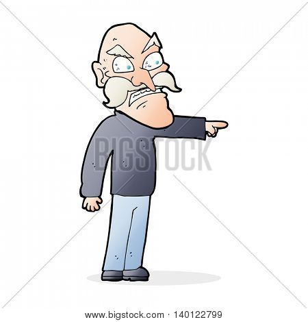 cartoon furious old man