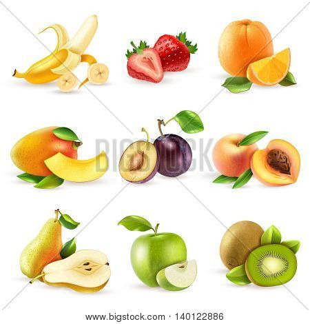 Fresh fruits and berries colorful pictograms compositions collection with mango strawberry and banana realistic isolated vector illustration