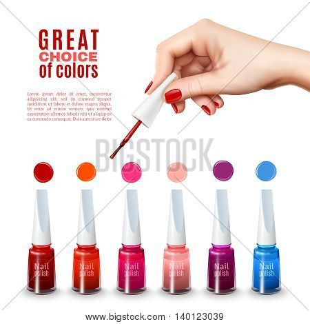 Best choice of new tints nail polish colors with beautiful hand holding brush advertisement poster realistic vector illustration