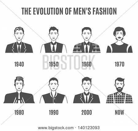 Men Fashion Black White Icons Set. Fashion Evolution Avatar Vector Illustration. Man Fashion Evolution Decorative Set.  Fashion Development Design Set. Fashion Evolution Flat Isolated Set.