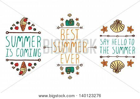 Set of colorful summer hand-sketched elements with ice-cream, camera, shells on white background