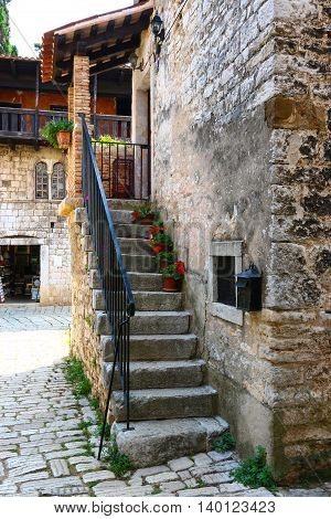 Porec old town antient houses summer day