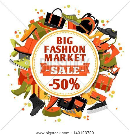 Sale of fashion footwear design concept with set of shoes and bags and announcement of fifty percent discount vector illustration