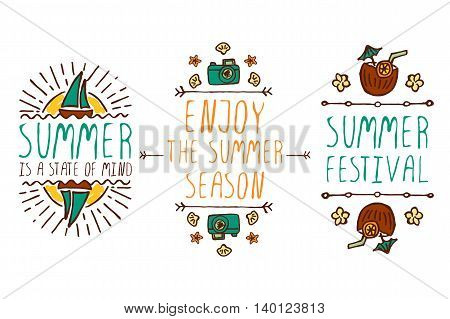 Set of colorful summer hand-sketched elements with sun, sail boats, coconut cocktails, shells on white background