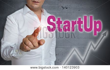 startup touchscreen is operated by man background