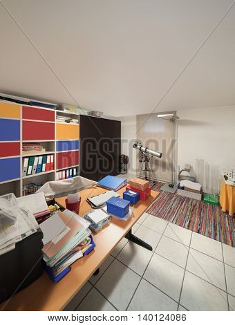 Small warehouse of house, room with disorder objects