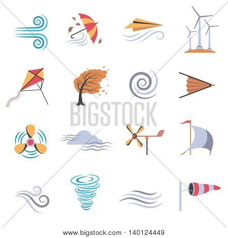 Set of color flat icons depicting different objects that make or use wind with white background vector illustration