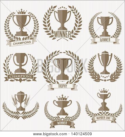 Award Cups And Trophy Icons With Laurel Wreaths Colelction 2.eps