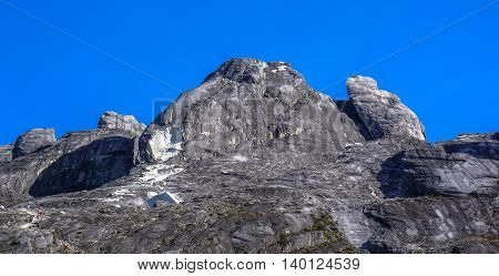 Close up view of Mountain Kinabalu after earthquake.The new Mount Kinabalu Summit Trail was officially opened to climbers from all over the world on 1st December 2015.