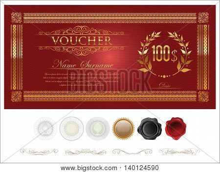 Gift Certificate Retro Vintage Template 5.eps