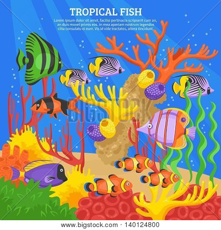 Tropical fish sea background with corals and water flat vector illustration