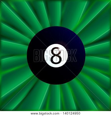 A typical eight snooker ball over a green material background