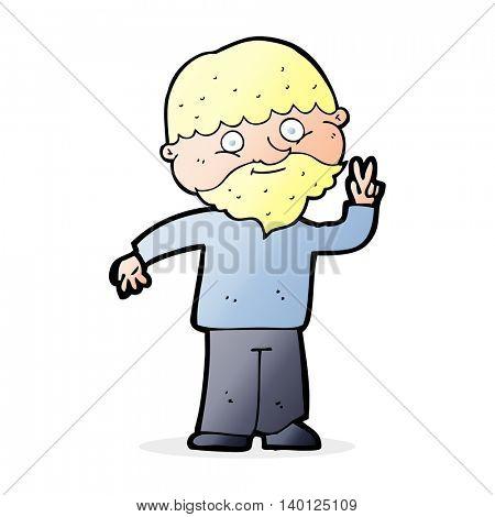 cartoon man giving peace sign