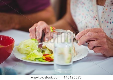 Close-up on a vegetable plate during lunch meal