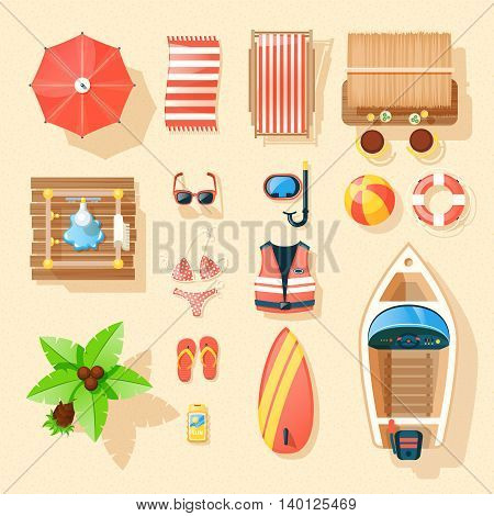 Beach vacation accessories collection top view with palm motorboat surfboard swimming suits and parasol isolated vector illustration