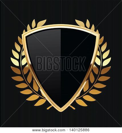 Gold And Black Shield With Gold Laurels 2.eps