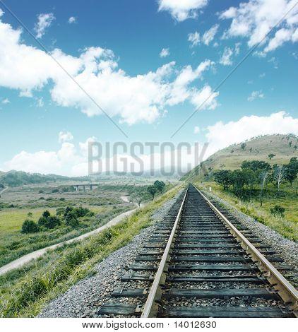 Railroad near hills