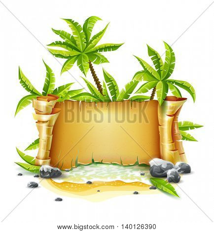 Travel banner with old parchment paper script paradise island from sea wave beach breakers palm vector illustration