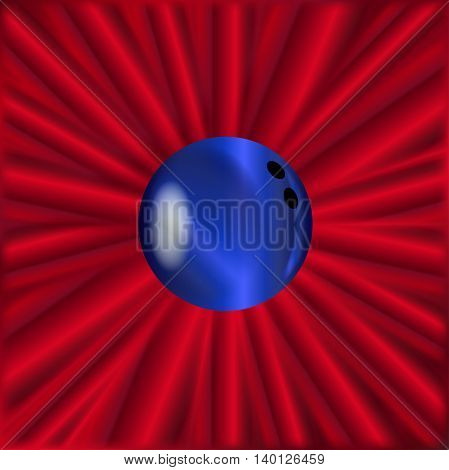 A blue bowling ball over a red material background