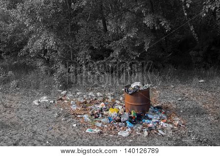 the nature of the pollution, garbage in the woods, problem of all world