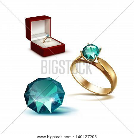 Vector Gold Engagement Ring with Emerald Shiny Clear Diamond in Red Jewelry box Close up Isolated on White Background