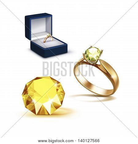Vector Gold Engagement Ring with Yellow Shiny Clear Diamond in Blue Jewelry box Close up Isolated on White Background