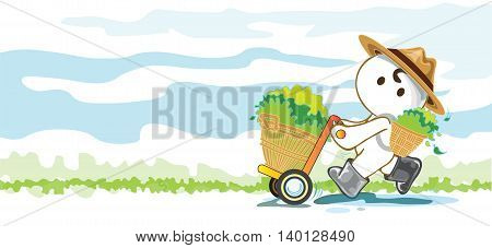 Gardeners cart store produce crops vegetable fruit or tea cartoon pantomime cute acting graphic design