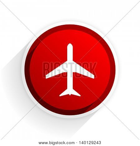plane flat icon with shadow on white background, red modern design web element