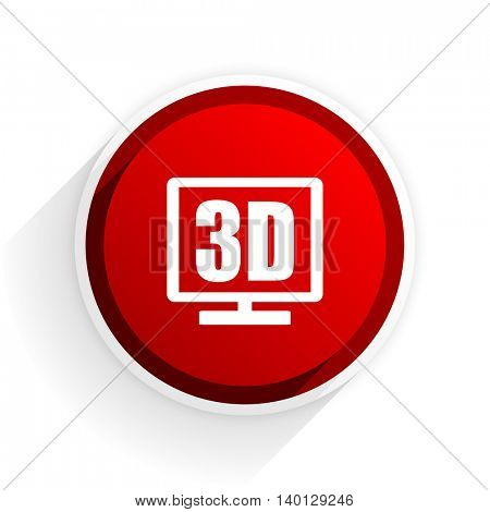 3d display flat icon with shadow on white background, red modern design web element