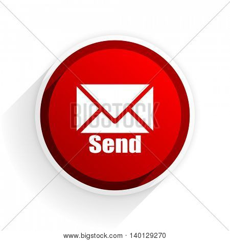 send flat icon with shadow on white background, red modern design web element