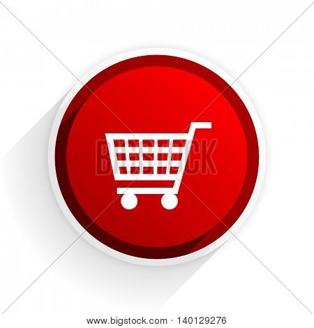 cart flat icon with shadow on white background, red modern design web element
