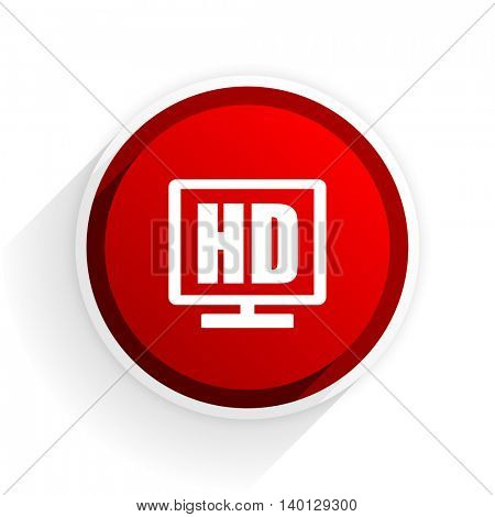 hd display flat icon with shadow on white background, red modern design web element