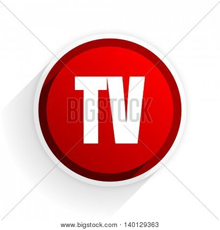 tv flat icon with shadow on white background, red modern design web element