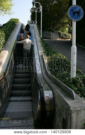 LAUSANNE SWITZERLAND - MAY 03 2009: Escalator at Olympic park in Lausanne Switzerland on Lake Geneva. Here is Olympic museum which is the largest archive of Olympic Games in the world.