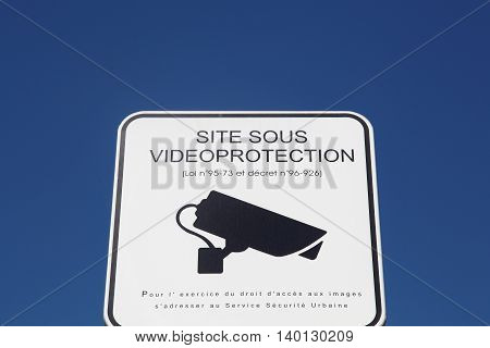 Panel in the street of video surveillance in France