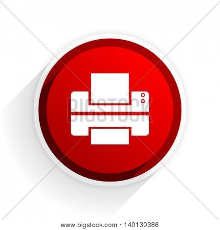 printer flat icon with shadow on white background, red modern design web element