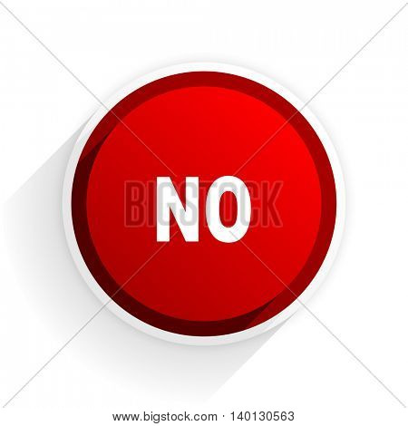 no flat icon with shadow on white background, red modern design web element