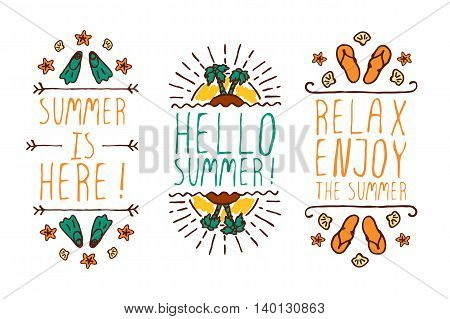 Set of colorful summer hand-sketched elements with sun, trees, shells on white background