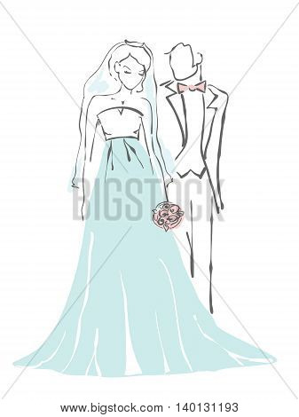 Silhouette of bride and groom. Wedding background for invitation.
