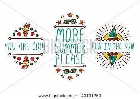 Set of colorful summer hand-sketched elements with ship, sunglasses, ice-cream, shells on white background