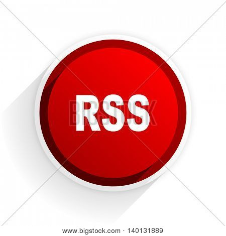 rss flat icon with shadow on white background, red modern design web element