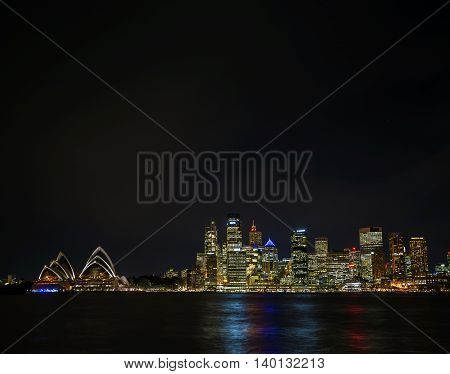 sydney harbour CBD opera house skyline famous landmarks in australia at night