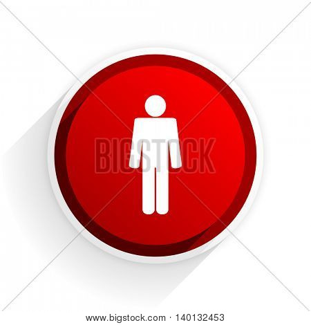 male flat icon with shadow on white background, red modern design web element