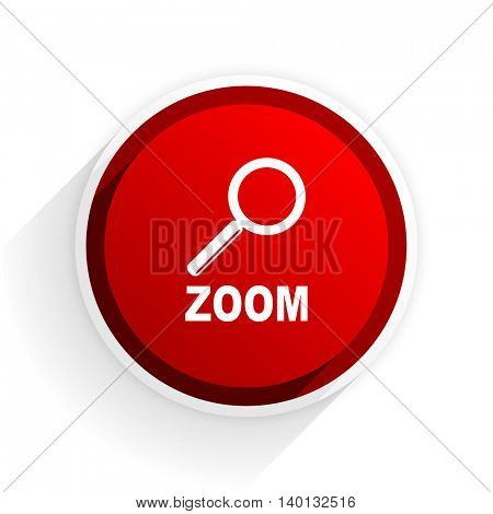 zoom flat icon with shadow on white background, red modern design web element