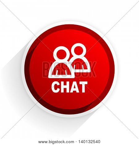 chat flat icon with shadow on white background, red modern design web element