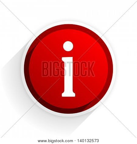 information flat icon with shadow on white background, red modern design web element
